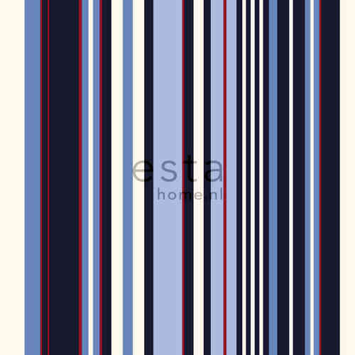 Stripes XL sini-puna raitatapetti